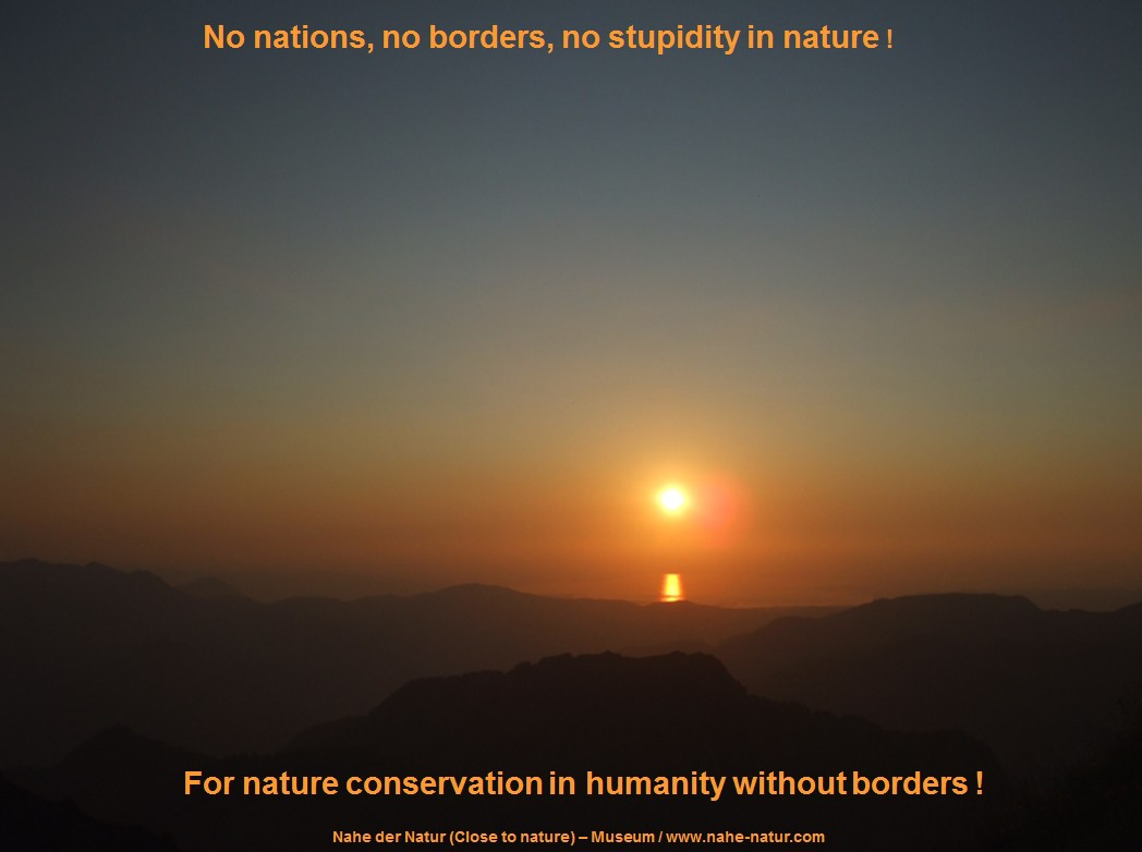 Symbolic image - nature without borders: Sunset view from the mountain 'Diedamskopf' (Bregenzerwald) to the Lake Constance, borderless between Austria, Switzerland and Germany. - 'Nahe der Natur' - on tour.